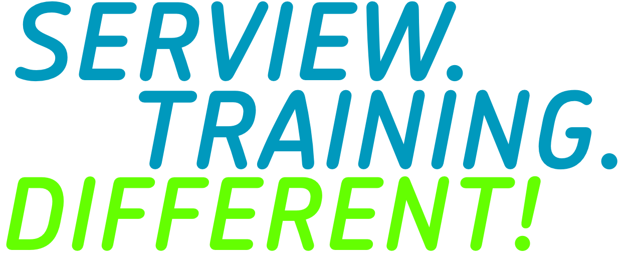 Serview. Training. Different.lettering